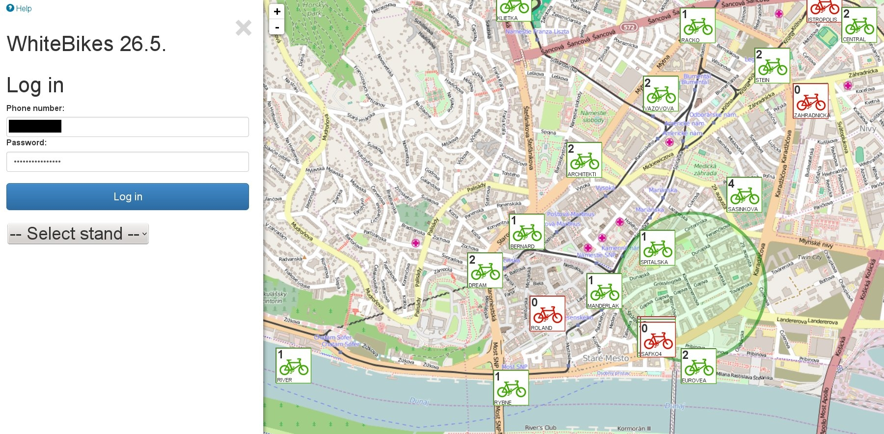 Web app - map with stands